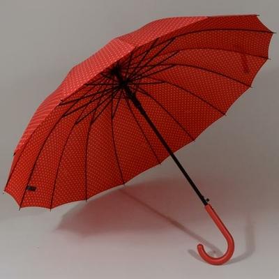 Parapluie anti-vent rouge à 16 baleines