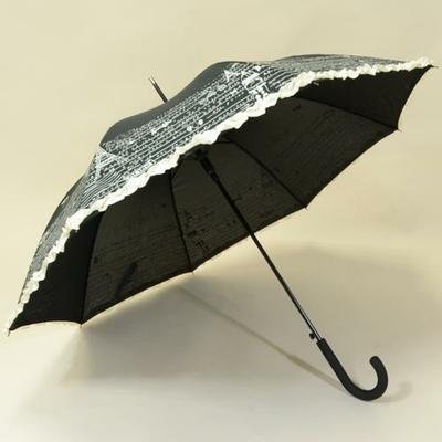 Parapluie noir imprimé Paris et froufrou