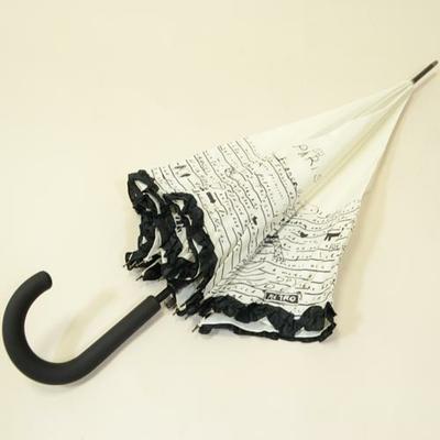 Parapluie blanc avec imprimé Paris et froufrou
