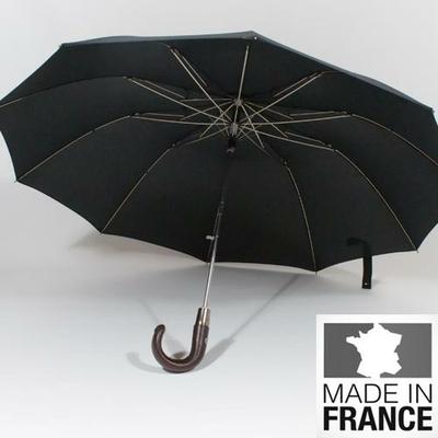 Parapluie pliant en cuir chocolat