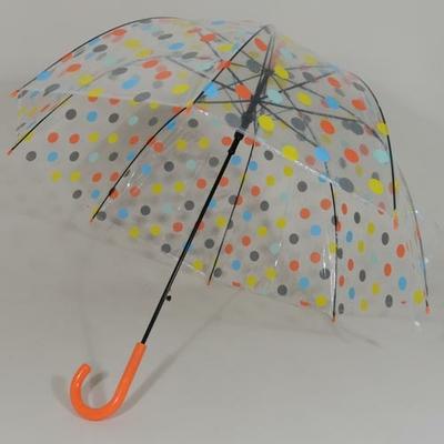 Parapluie transparent pas cher Orange Dots