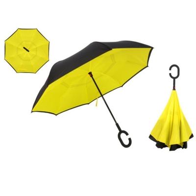 Parapluie double toile noire et jaune