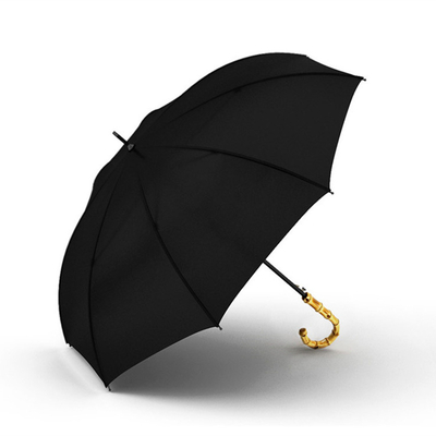 Parapluie noir uni avec poignée en bambou