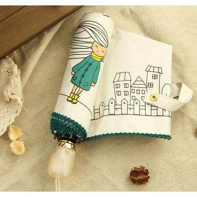 Parapluie pliant blanc Lonely Girl