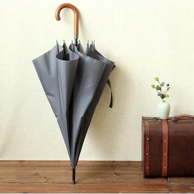 Parapluie homme en bois toile unie grise