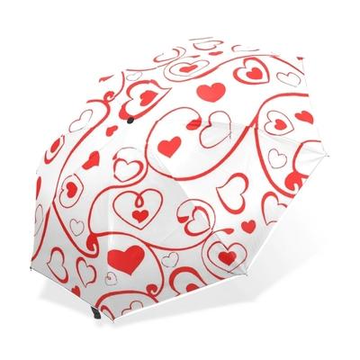Parapluie tout automatique blanc à coeurs rouges