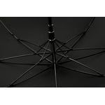 Parapluie long noir poignée courbe en bois détail armature