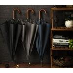 Parapluie long poignée courbe en bois 2