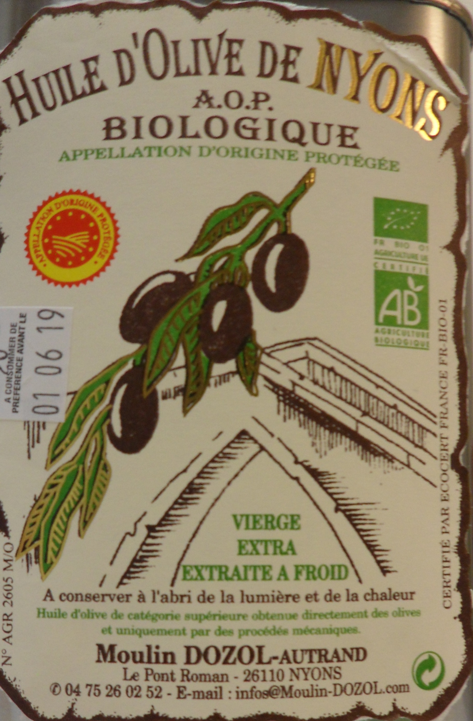 BAG IN BOX 2L HUILE D\'OLIVE AOP BIOLOGIQUE