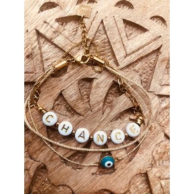 Bracelet message et grigris Chance