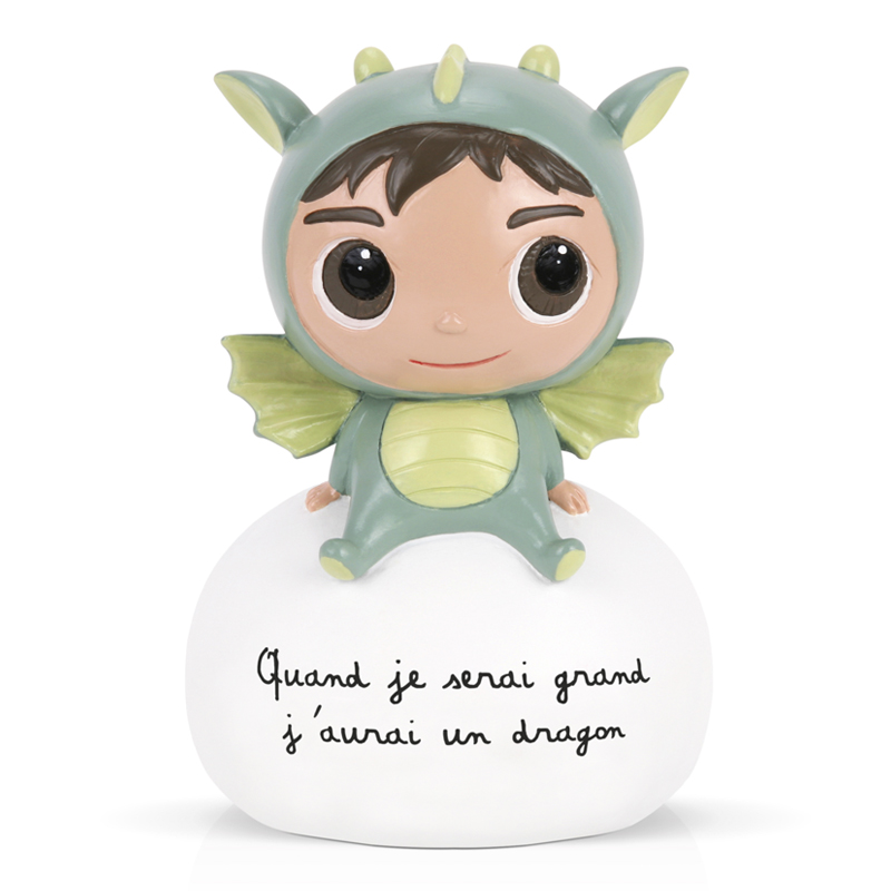 tirelire enfant dragon verte