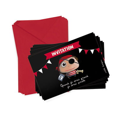 6 cartons d'invitation  Pirate + enveloppes