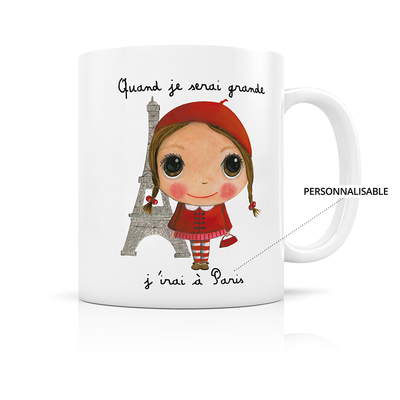 "Mug ""paris Fille"" Personnalisable"