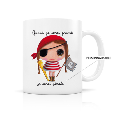 "Mug ""Pirate fille"" Personnalisable"
