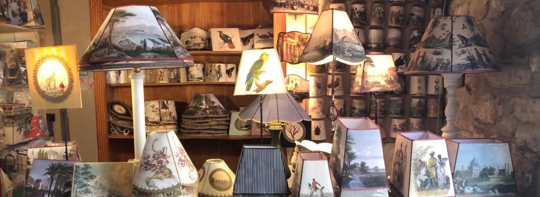 abats-jour-gravure-ancienne-villa-et-demeure-décoration