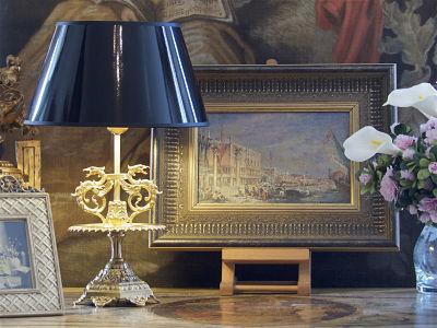 abat jour oval vernis noir et dor 25 cm villa demeure. Black Bedroom Furniture Sets. Home Design Ideas