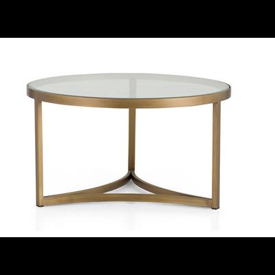 Table Basse Verre et Laiton RHINE  Ø 80 cm
