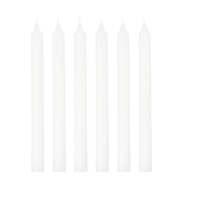 6 Bougies Flambeau BLANC SIA H25 cm (la boîte)