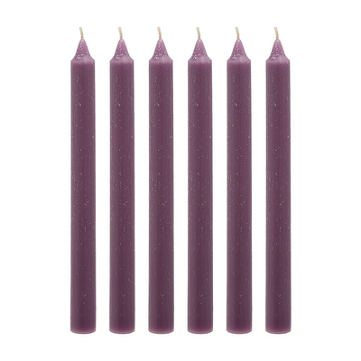 6 Bougies Flambeau MAUVE SIA H 25 cm (la boîte)