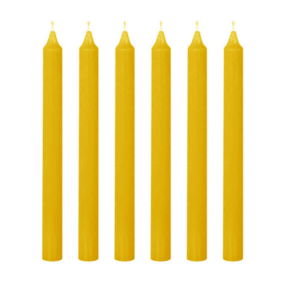6 Bougies Flambeau JAUNE SIA H25 cm (la boîte)