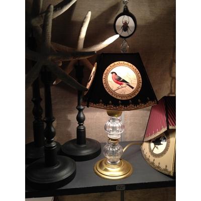 Abat-Jour OISEAU ROUGE Pagode Mini Ø 15 cm et pied de lampe MANON