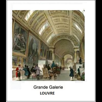 """Gravure """"GRANDE GALERIE A"""" LOUVRE (choisir votre forme d'abat-jour et fond de couleur)"""