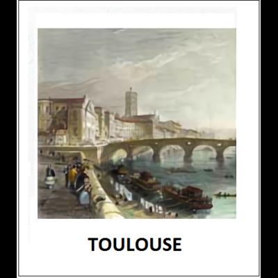 Gravure TOULOUSE (choisir votre forme d'abat-jour et fond de couleur)