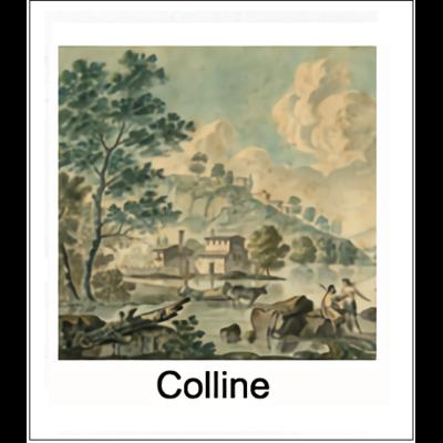 Gravure COLLINE (choisir votre forme d'abat-jour et fond de couleur)