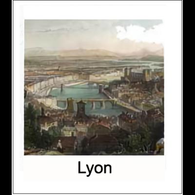Gravure LYON (choisir votre forme d'abat-jour et fond de couleur)