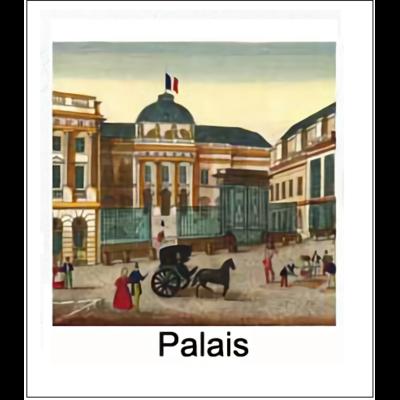 Gravure PALAIS (choisir votre forme d'abat-jour et fond de couleur)