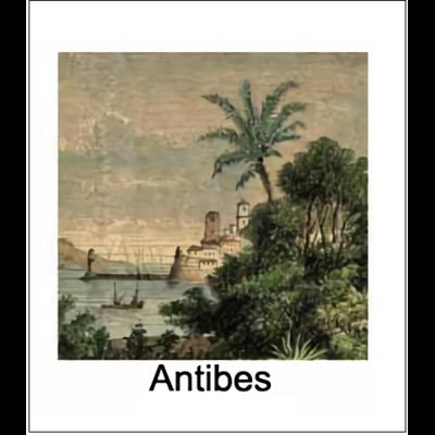 Gravure ANTIBES (choisir votre forme d'abat-jour et fond de couleur)