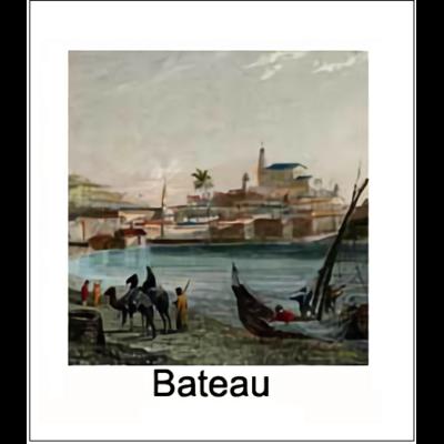 Gravure BATEAU (choisir votre forme d'abat-jour et fond de couleur)
