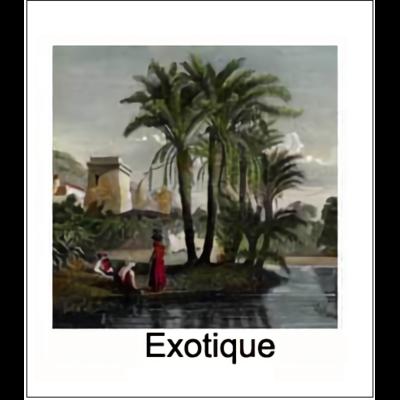 Gravure EXOTIQUE (choisir votre forme d'abat-jour et fond de couleur)