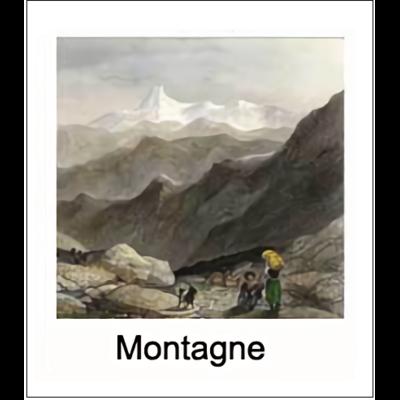 Gravure MONTAGNE (choisir votre forme d'abat-jour et fond de couleur)