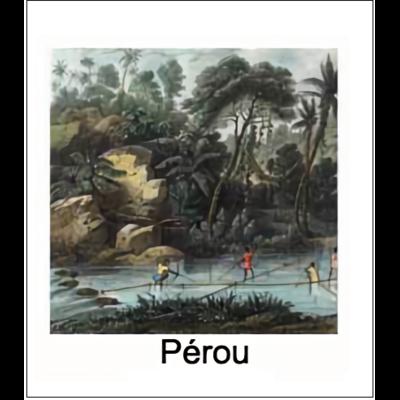Gravure PEROU (choisir votre forme d'abat-jour et fond de couleur)