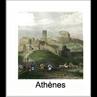Gravure ATHENES (choisir votre forme d'abat-jour et fond de couleur)