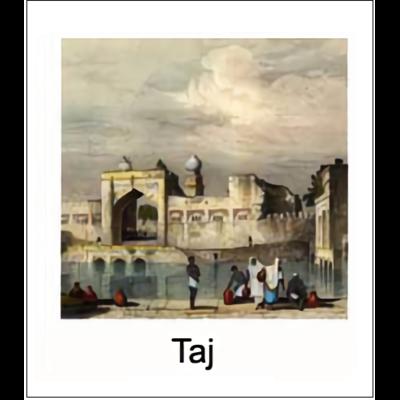Gravure TAJ (choisir votre forme d'abat-jour et fond de couleur)