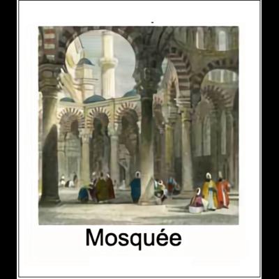 Gravure MOSQUEE (choisir votre forme d'abat-jour et fond de couleur)