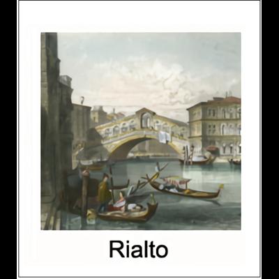 Gravure RIALTO (choisir votre forme d'abat jour et fond de couleur)