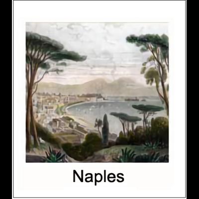 Gravure NAPLES (choisir votre forme d'abat-jour et fond de couleur)