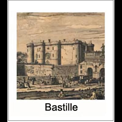 Gravure BASTILLE (choisir votre forme d'abat-jour et fond de couleur)