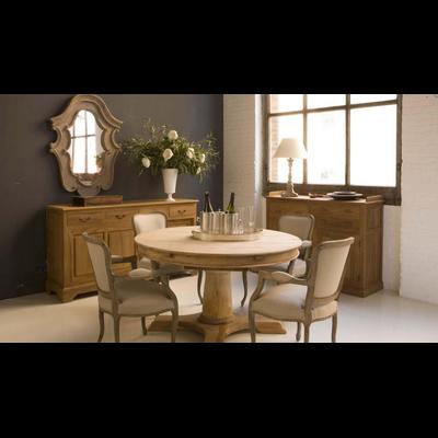 Table BELLE ILE en Teck Ø 120-140 ou 160cm x H 78 cm (+1 rallonge 50 cm)
