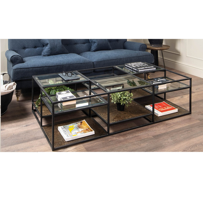 Table Basse Rectangulaire METAL et VERRE L 160 cm