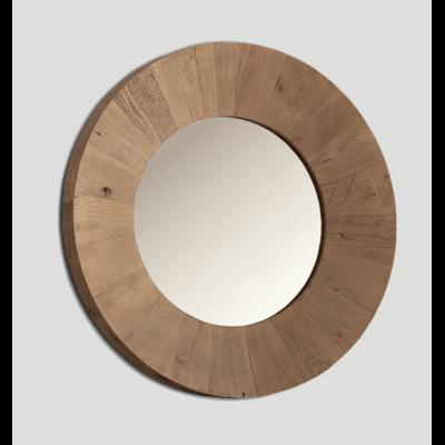 Miroir Rond BOIS RECYCLE Ø 100 cm Finition Naturelle