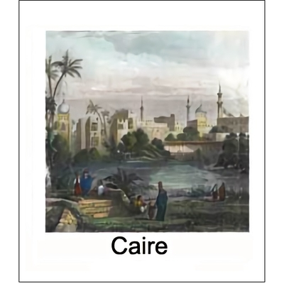 Gravure CAIRE (choisir votre forme d'abat-jour et fond de couleur)
