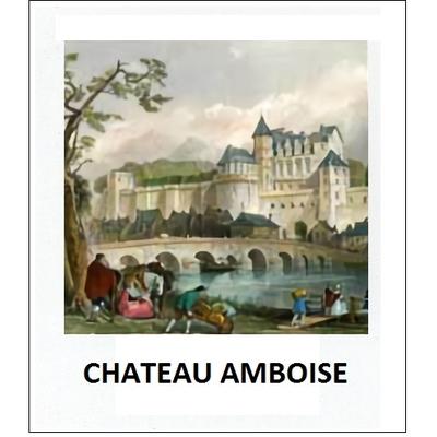 Gravure CHATEAU AMBOISE (choisir votre forme d'abat-jour et fond de couleur)
