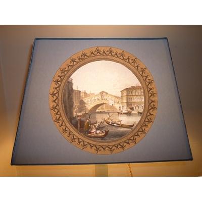 Abat-Jour RIALTO FLORENCE Fond Gris Bleu Rectangle GM Ø 40 cm
