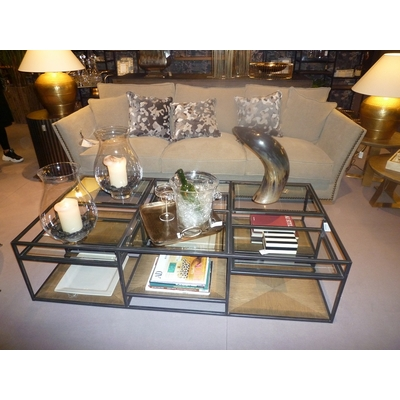 Table Basse Rectangulaire METAL et VERRE L 160 cm