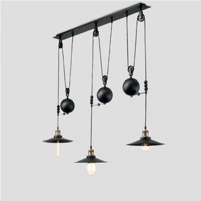 Suspension 3 Lampes Finition NOIR Mat Hauteur Réglable L 123 cm