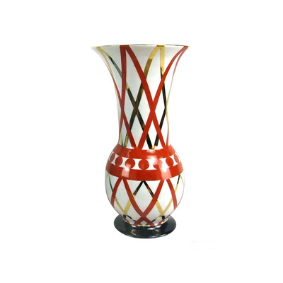 Vase Corolle Croisillons Corail et Or